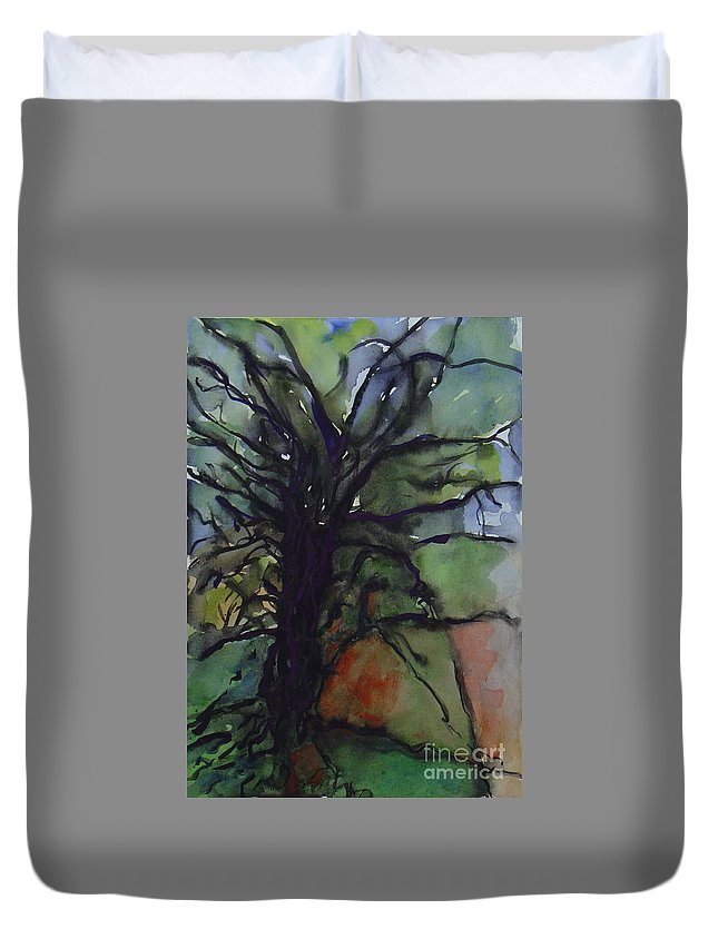 Tree Landscape Abstract Watercolor Original Blue Green Duvet Cover featuring the painting Branching by Leila Atkinson