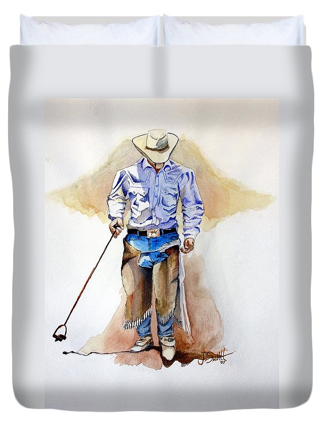 Western Duvet Cover featuring the painting Branding Blisters by Jimmy Smith