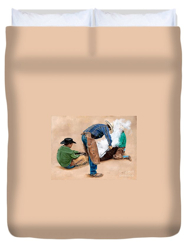 Art Duvet Cover featuring the painting Branding Day by Mary Rogers