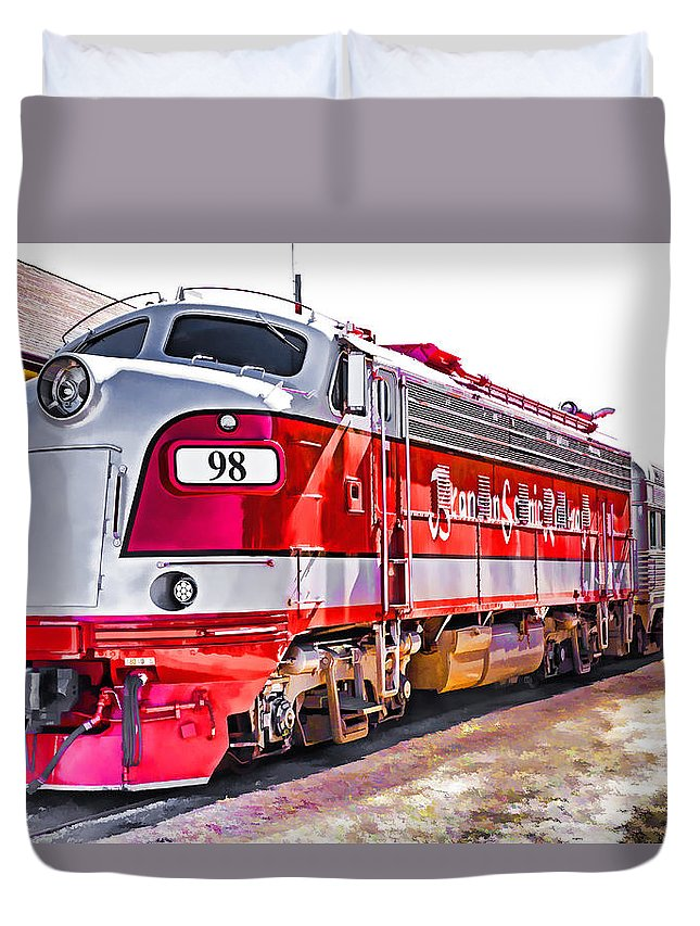 Usa Duvet Cover featuring the photograph Branson Engine 98 by Dennis Cox