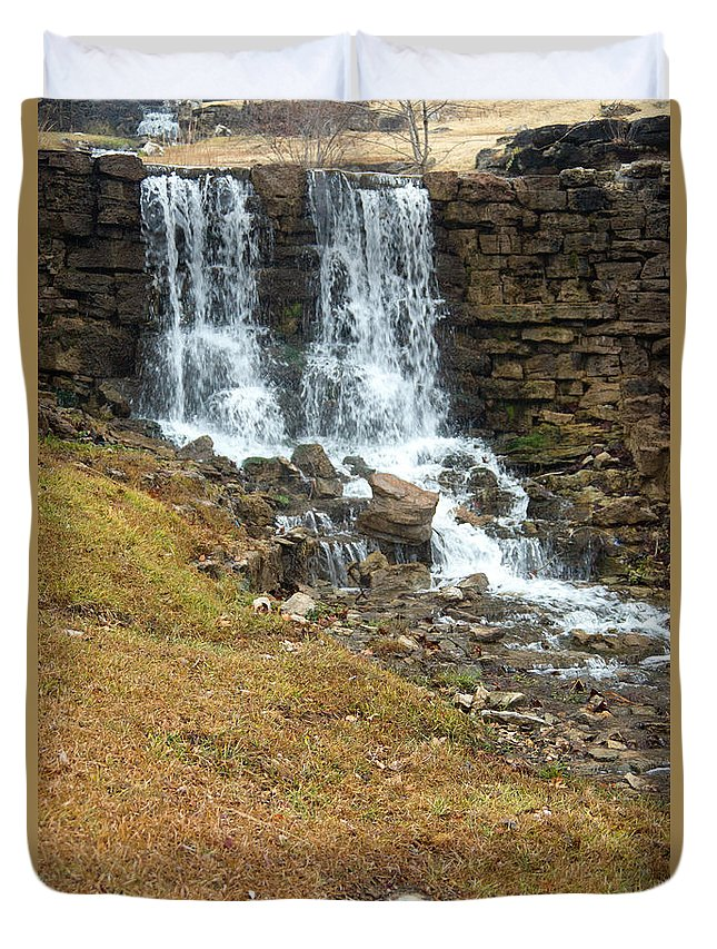 Waterfall Duvet Cover featuring the photograph Branson Waterfall 4 by Douglas Barnett