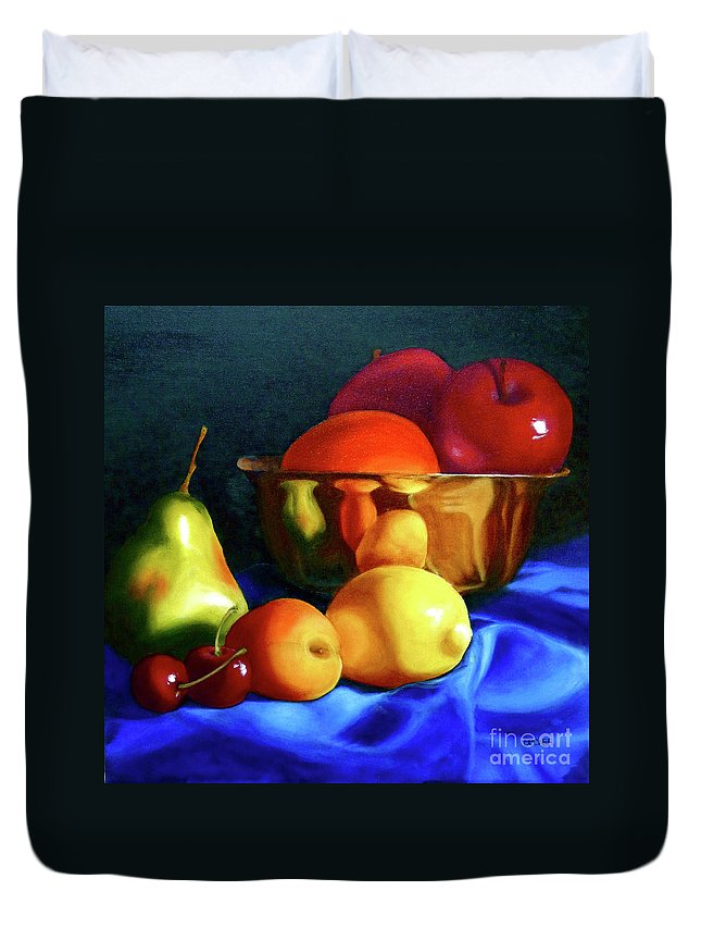Still Llife Duvet Cover featuring the painting Brass Ensemble by Susan A Becker