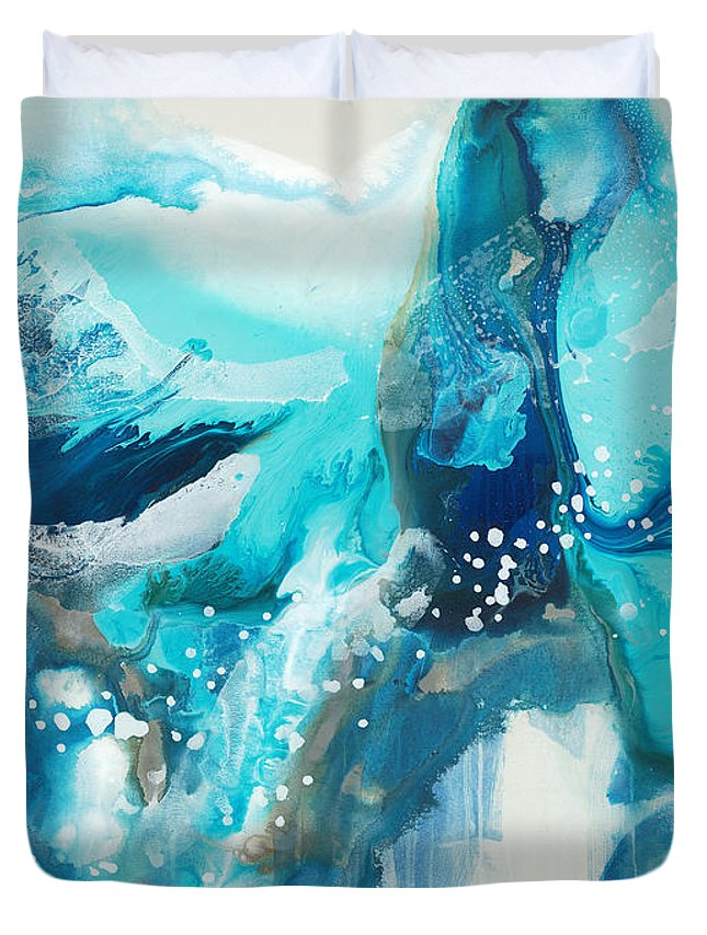 Abstract Duvet Cover featuring the painting Brave Depths by Claire Desjardins