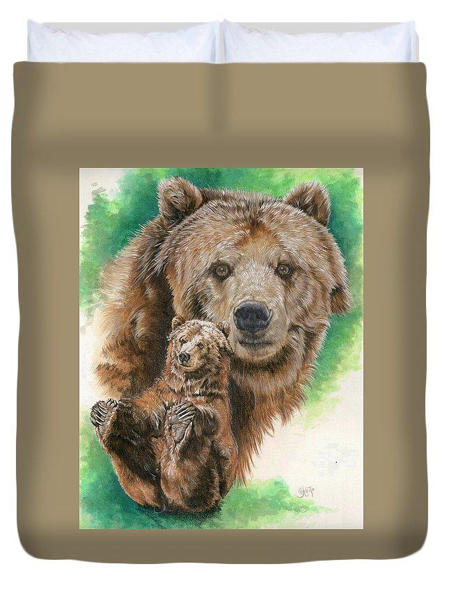 Bear Duvet Cover featuring the mixed media Brawny by Barbara Keith