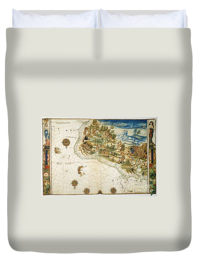 1547 Duvet Cover featuring the photograph Brazil: Map And Native Indians by Granger
