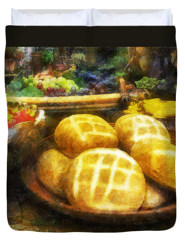 Bread; Loaf; Loaves; Food; Fruit; Still-life; Grapes Duvet Cover featuring the digital art Bread Table by Francesa Miller