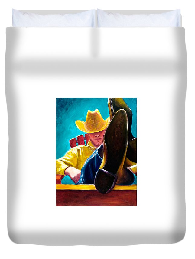 Western Duvet Cover featuring the painting Break Time by Shannon Grissom