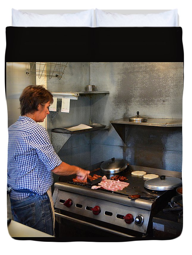 Restaurant Duvet Cover featuring the photograph Breakfast Chef by Josephine Buschman