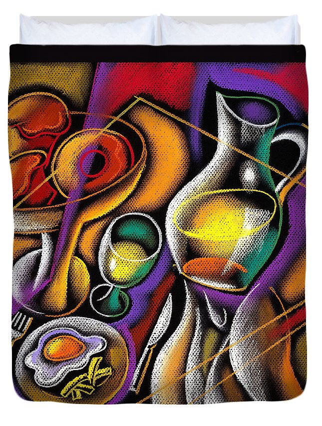 Balance Breakfast Cafe Carry Carrying Close Up Close-up Coffee Coffee Cup Color Color Image Colour Cup Dish Drawing Drink Food Food And Drink Fruit Glass Hand Healthy Eating High Angle High Angle View Hold Holding Illustration Illustration And Painting Juice One One Person People Person Plate Platter Restaurant Server Service Serving Tray Unrecognizable Person Vertical Waiter Decorative Painting Abstract Art Duvet Cover featuring the painting Breakfast by Leon Zernitsky