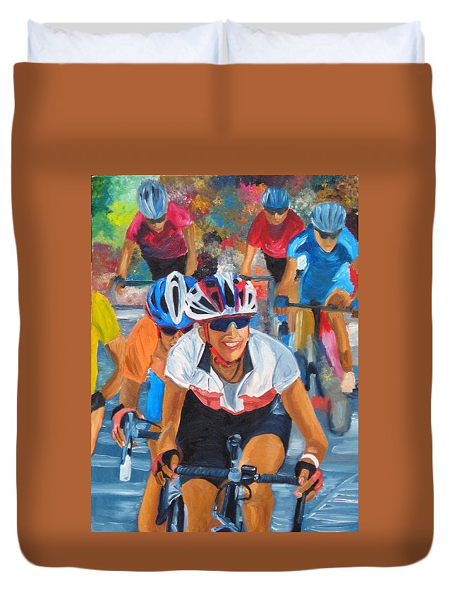 Cycling Duvet Cover featuring the painting Breaking Away by Michael Lee