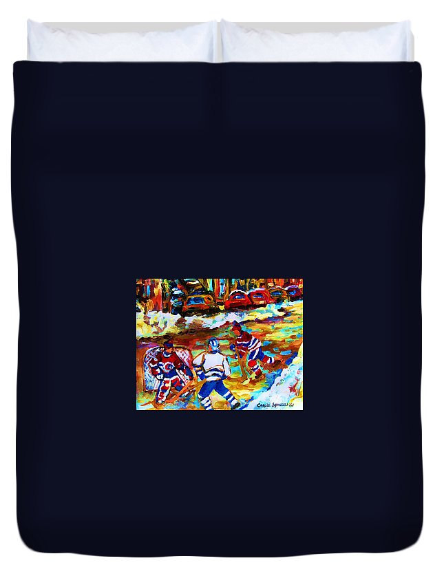 Streethockey Duvet Cover featuring the painting Breaking The Ice by Carole Spandau