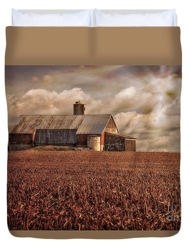 Farm Duvet Cover featuring the photograph Breaking Through by Lois Bryan