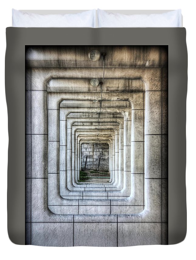 Abstract Duvet Cover featuring the photograph Breaking Through The Forth Wall by David LaSpina