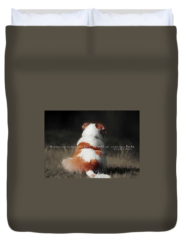 Dog Duvet Cover featuring the photograph Breaktime Quote by JAMART Photography