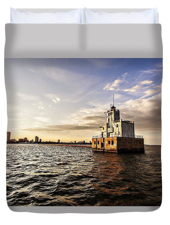 Cj Schmit Duvet Cover featuring the photograph Breakwater Lighthouse by CJ Schmit