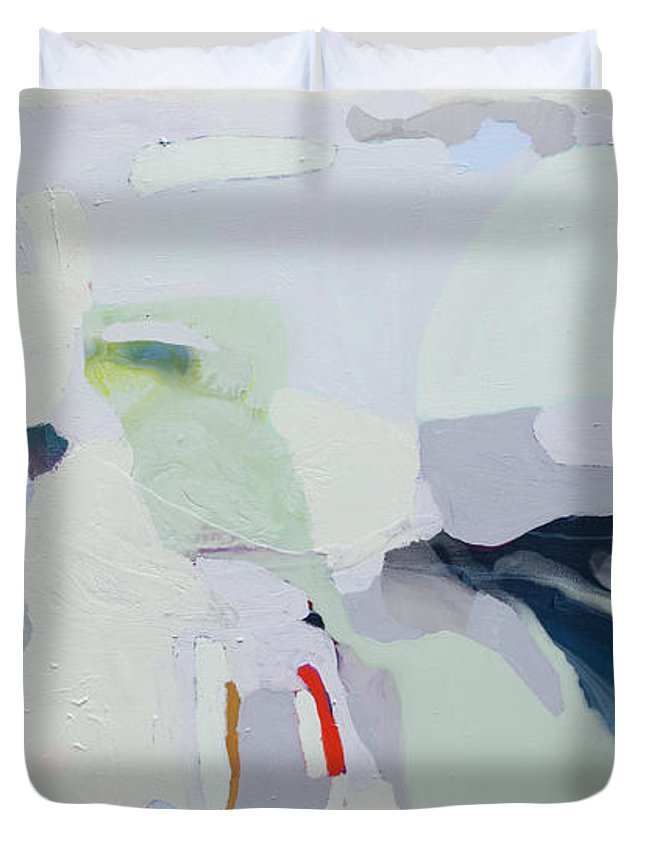Abstract Duvet Cover featuring the painting Breathe by Claire Desjardins