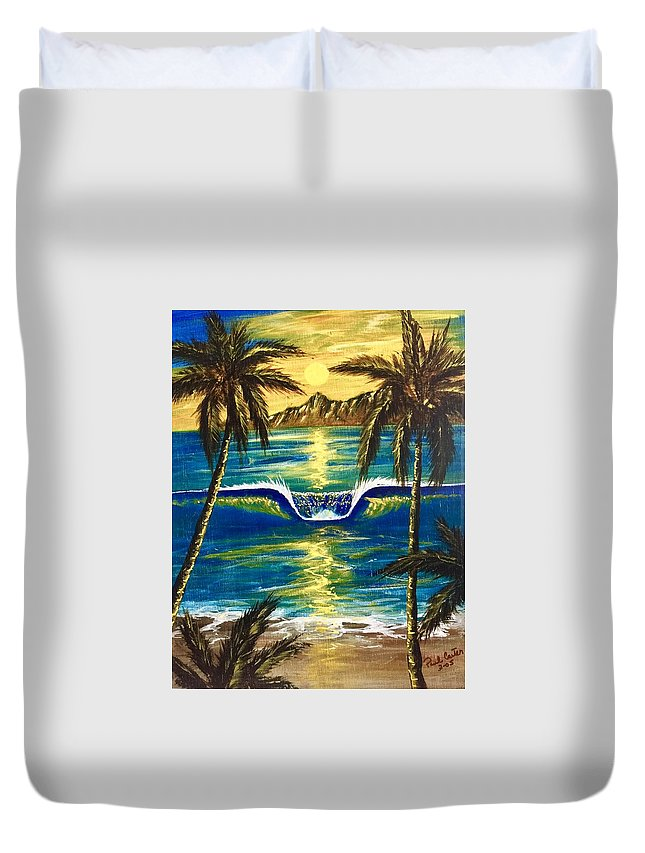 Tropical Duvet Cover featuring the painting Breathe In The Moment by Paul Carter
