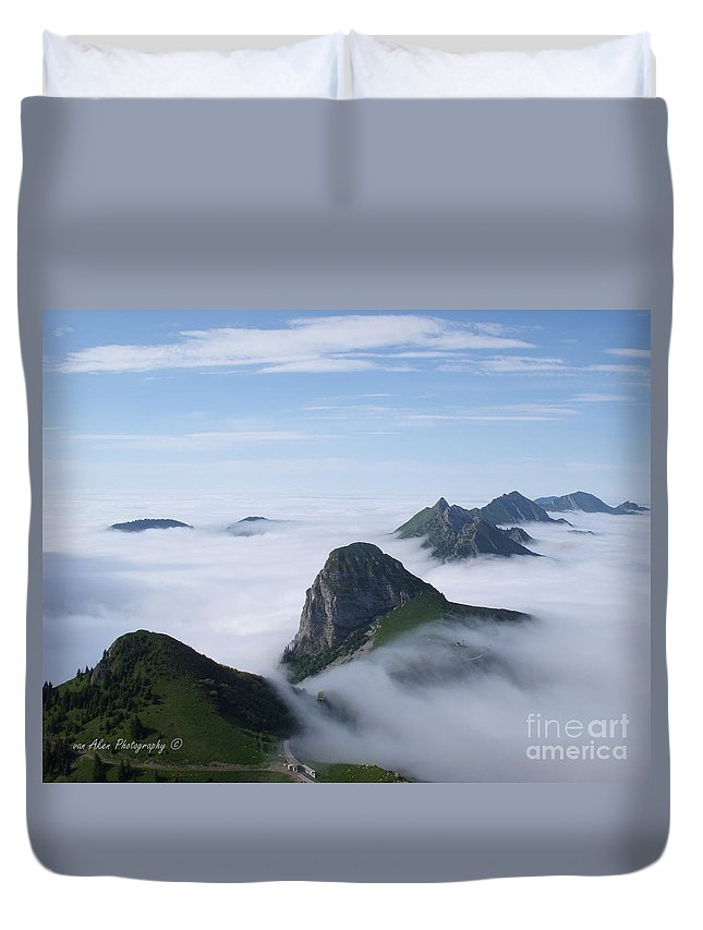 Landscape Duvet Cover featuring the photograph Breathtaking View From Rochers De Naye by Mikhael van Aken