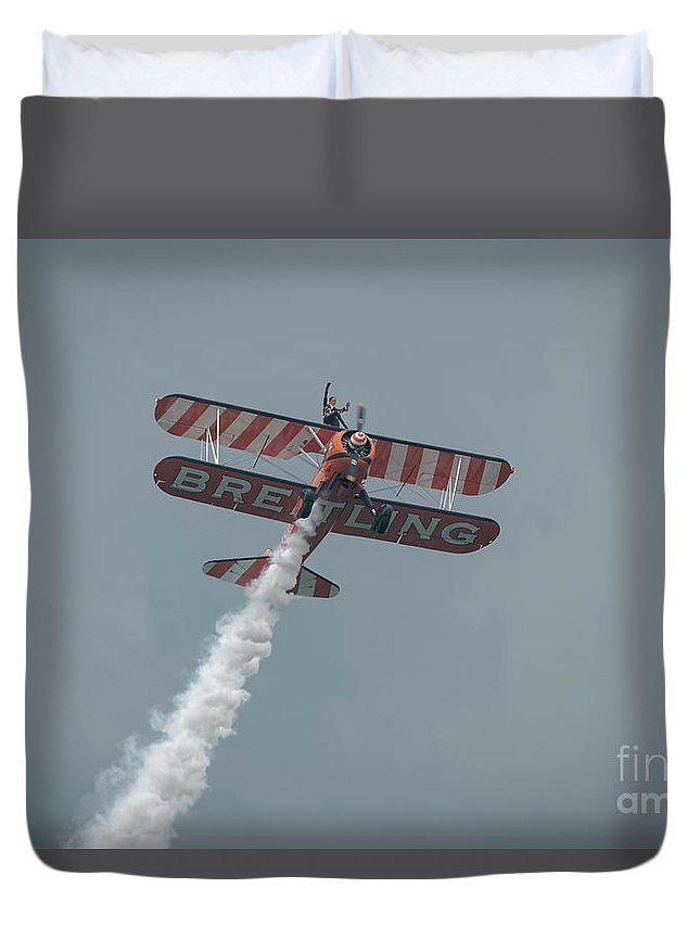 Breitling Duvet Cover featuring the photograph Breitling Wingwalker by Philip Pound
