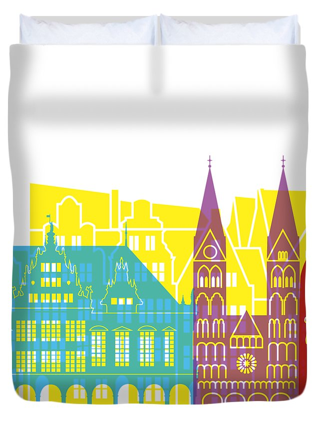 Bremen Duvet Cover featuring the painting Bremen Skyline Pop by Pablo Romero