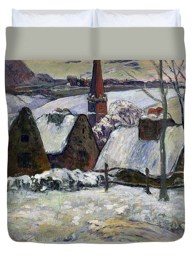 Breton Village Under Snow Duvet Cover featuring the painting Breton Village Under Snow by Paul Gauguin