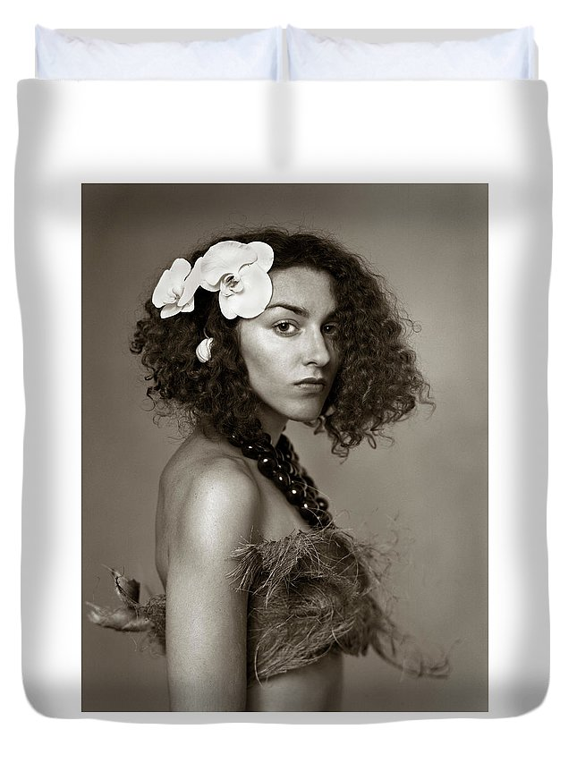 Natural Duvet Cover featuring the photograph Island Girl by Audrey Christopher Bunn