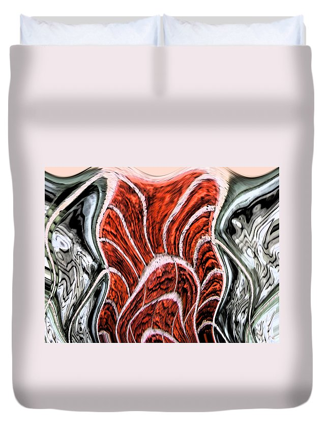 Abstract Duvet Cover featuring the digital art Brick And Glass by Lenore Senior