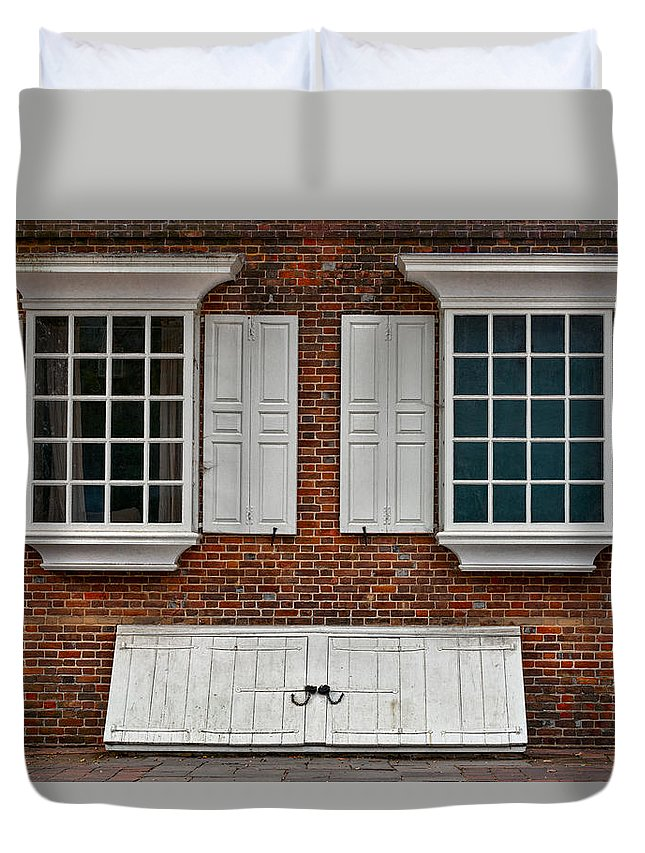 Windows Duvet Cover featuring the photograph Brick Face by Christopher Holmes