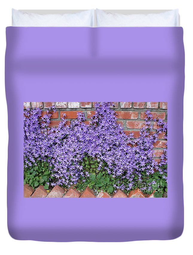 Blue Flowers Duvet Cover featuring the photograph Brick Wall With Blue Flowers by Carol Groenen