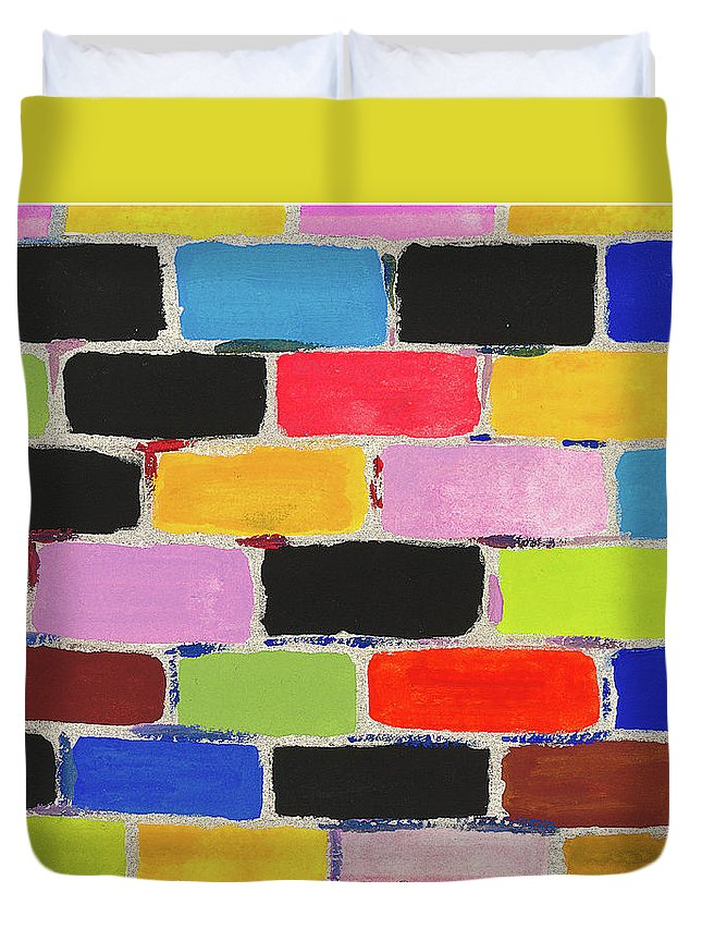 Contemporary Duvet Cover featuring the painting Bricks Of Life by Bjorn Sjogren