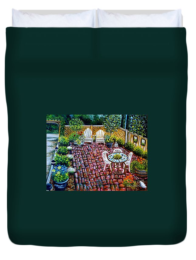 Landscape Duvet Cover featuring the painting Brickwork by Elizabeth Robinette Tyndall