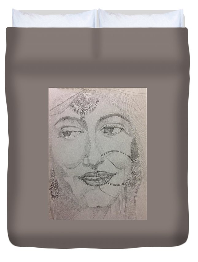 Portrait Duvet Cover featuring the painting Bride by Antara Chatterjee