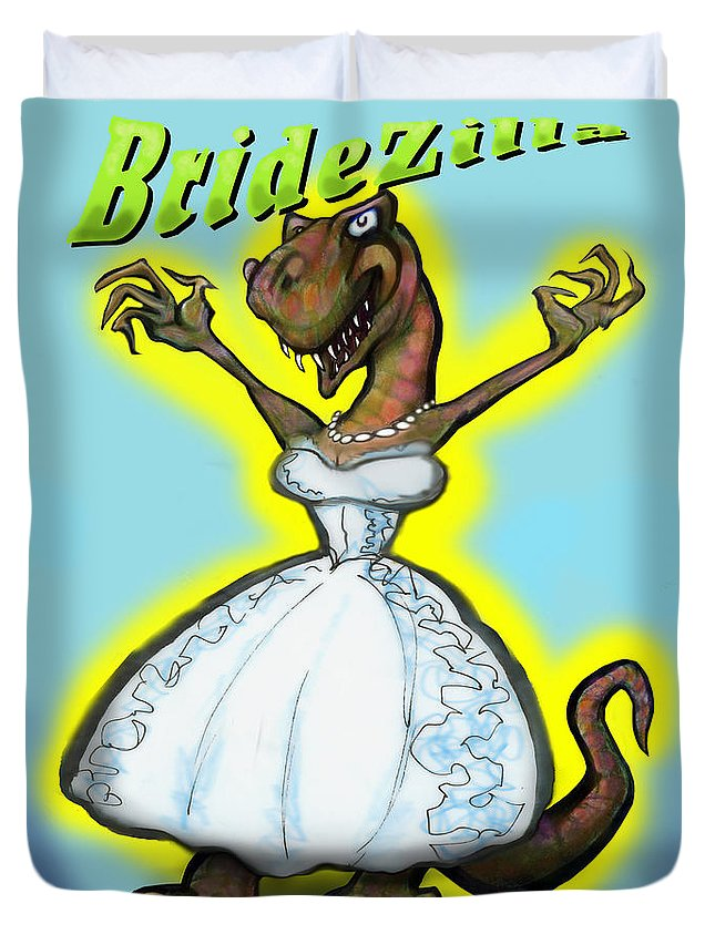 Bridezilla Duvet Cover featuring the greeting card Bridezilla by Kevin Middleton
