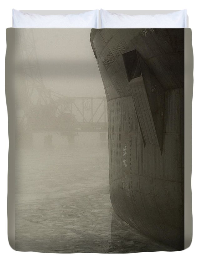 Water Duvet Cover featuring the photograph Bridge And Barge by Tim Nyberg