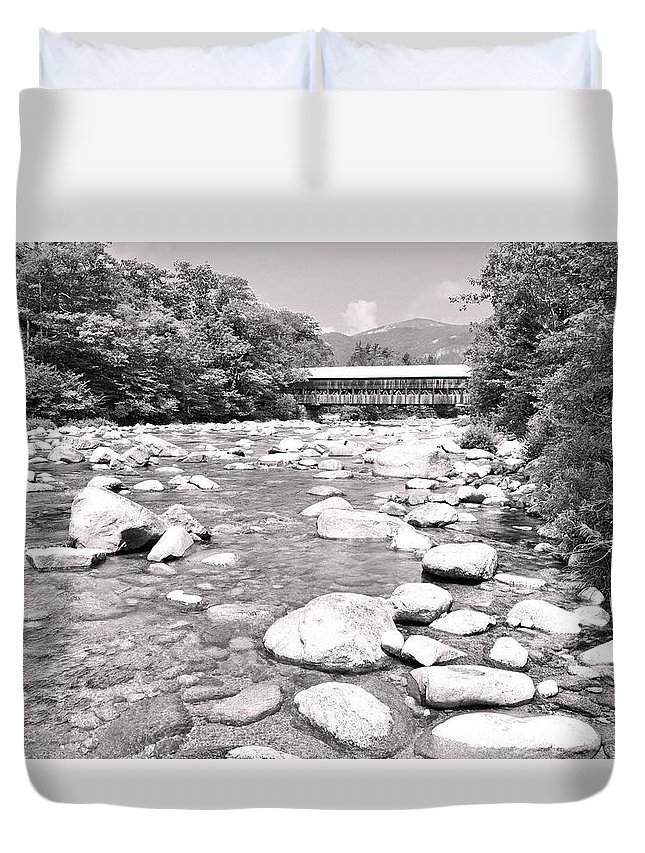 Albany Covered Bridge Duvet Cover featuring the photograph Bridge And Mountain Stream In Black And White by James Potts