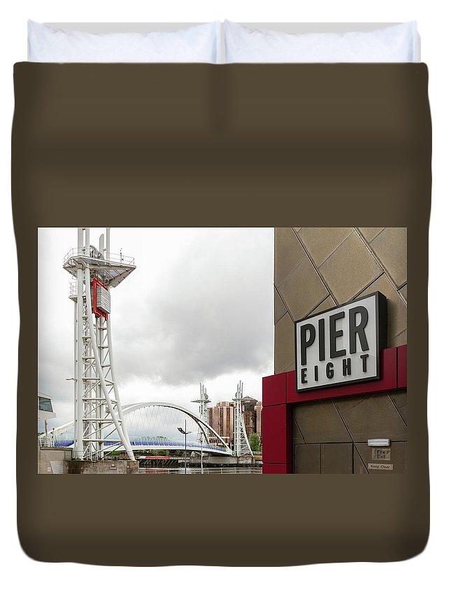 Manchester Duvet Cover featuring the photograph Bridge And Pier Eight by Iordanis Pallikaras