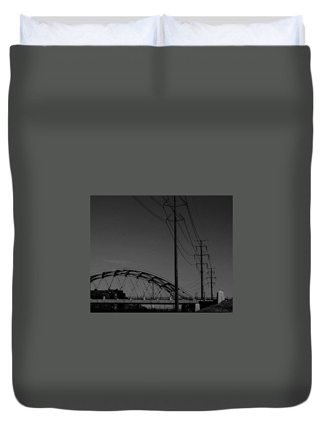 Metal Structures Duvet Cover featuring the photograph Bridge And Power Poles At Dusk by Angus Hooper Iii