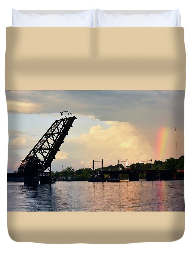 Providence Duvet Cover featuring the photograph Bridge And Rainbow Over Seekonk River by Garrett Sheehan