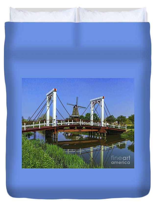 Holland Duvet Cover featuring the photograph Bridge And Windmill by Nick Zelinsky