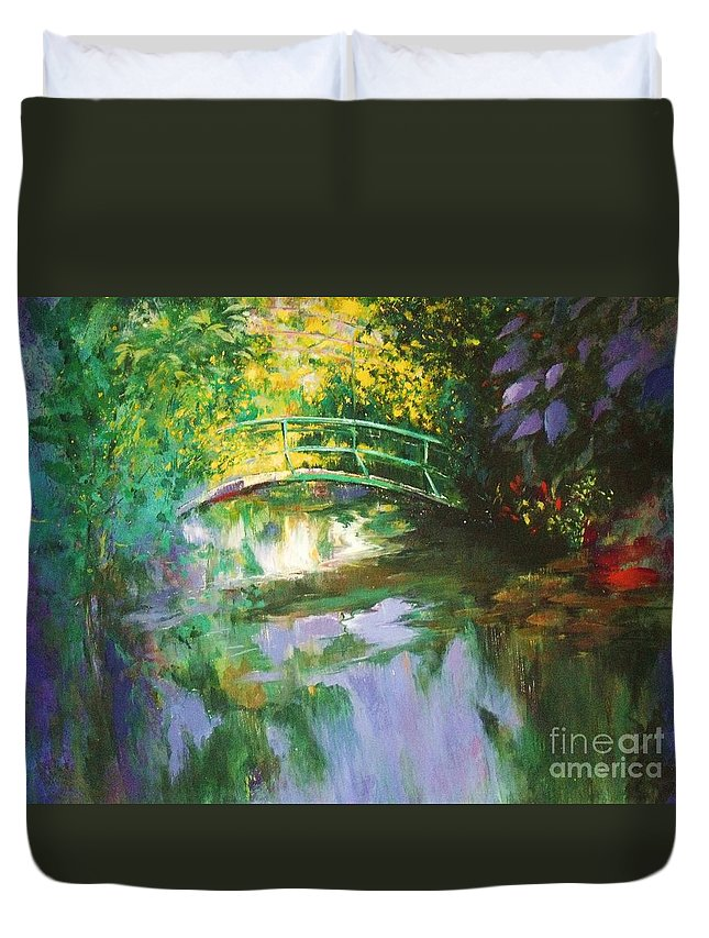 Canvas Print Duvet Cover featuring the painting Bridge At Giverny by Madeleine Holzberg