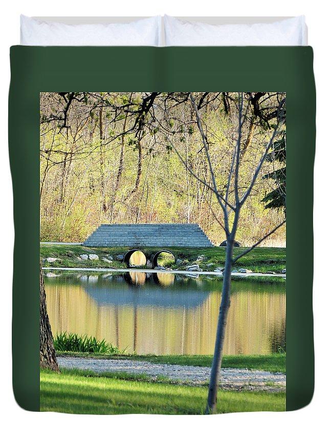 Island Park Duvet Cover featuring the photograph Bridge At Island Park by Creations by Shaunna Lynn