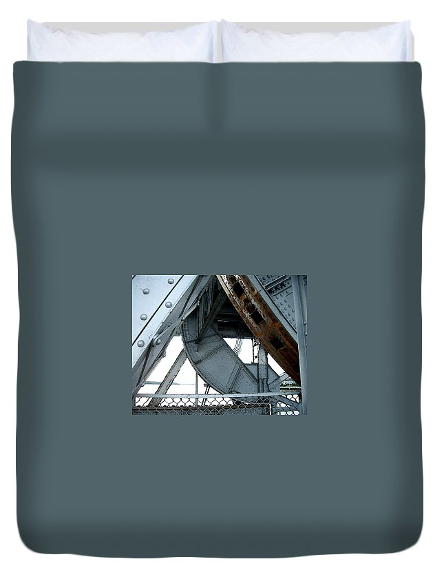 Steel Duvet Cover featuring the photograph Bridge Gears by Tim Nyberg