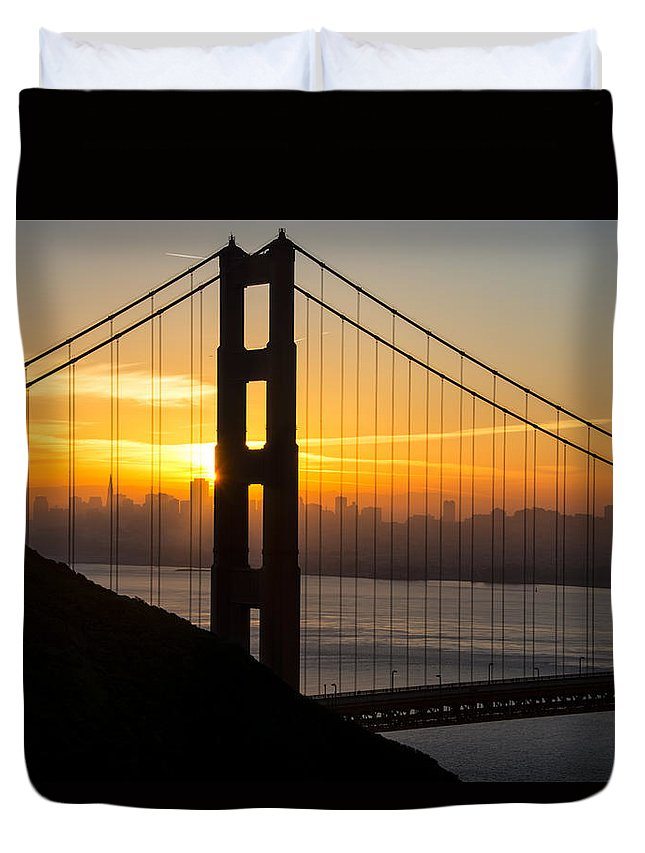 America Duvet Cover featuring the photograph Golden Gate Sunrise by Gej Jones