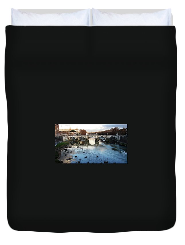 Rome Duvet Cover featuring the photograph Bridge In Rome by Brett Winn