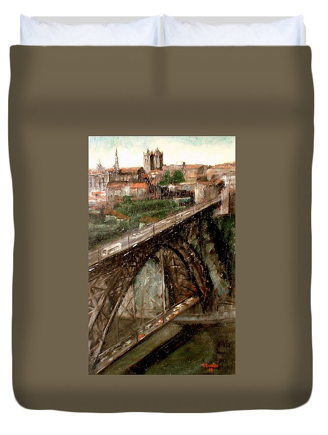 Porto Duvet Cover featuring the painting Bridge Luis I-Oporto by Tomas Castano