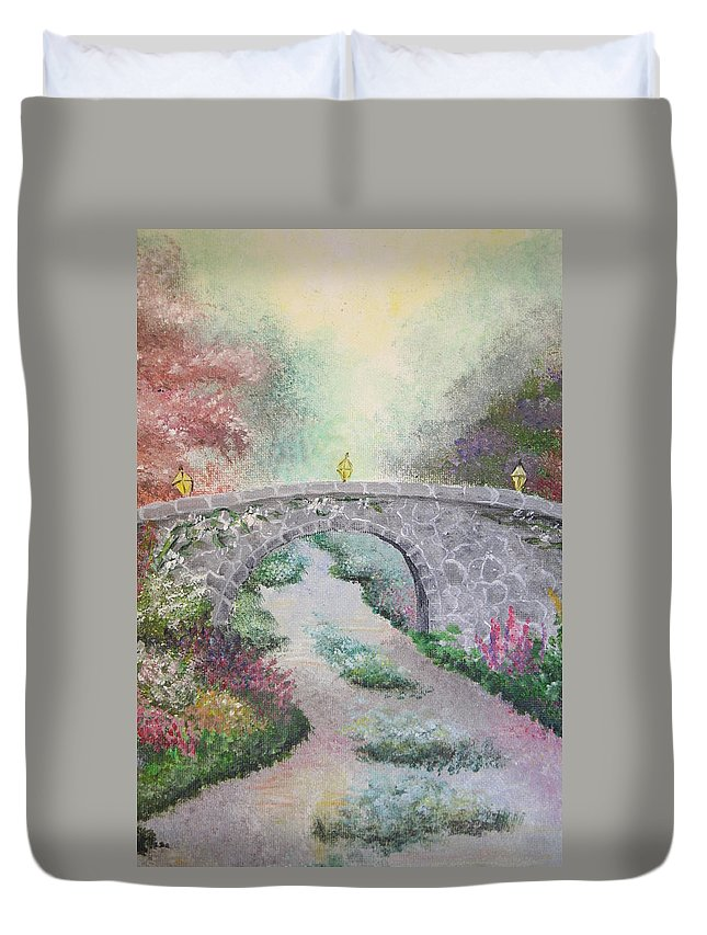 Bridge Duvet Cover featuring the painting Bridge by Melissa Wiater Chaney