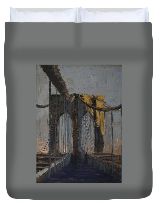 Cityscape Duvet Cover featuring the painting Bridge One by Gail Eisenfeld