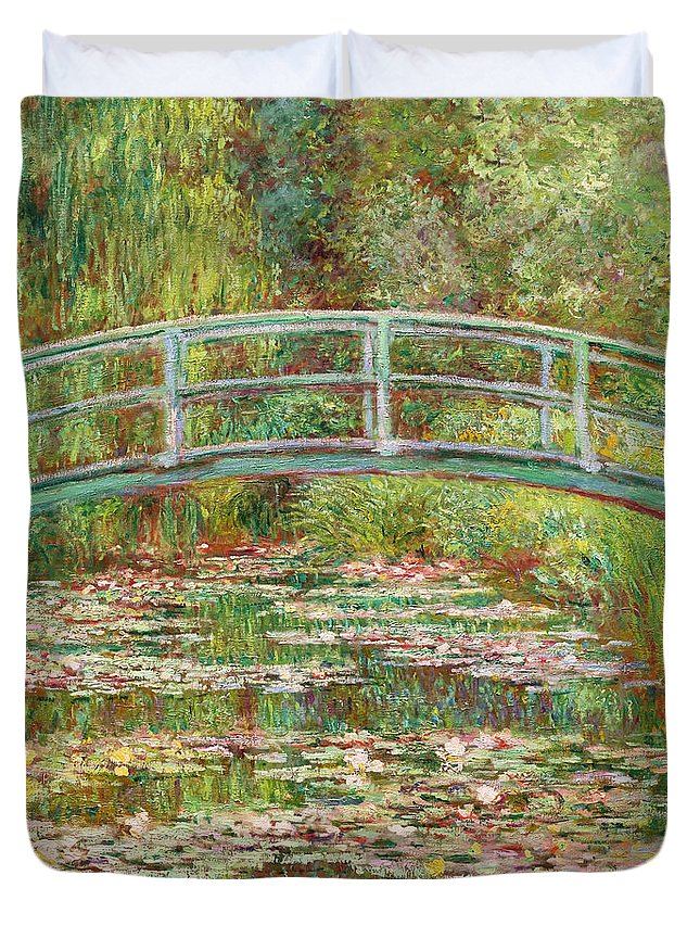 1899 Duvet Cover featuring the photograph Bridge Over A Pond Of Water Lilies by Peter Barritt