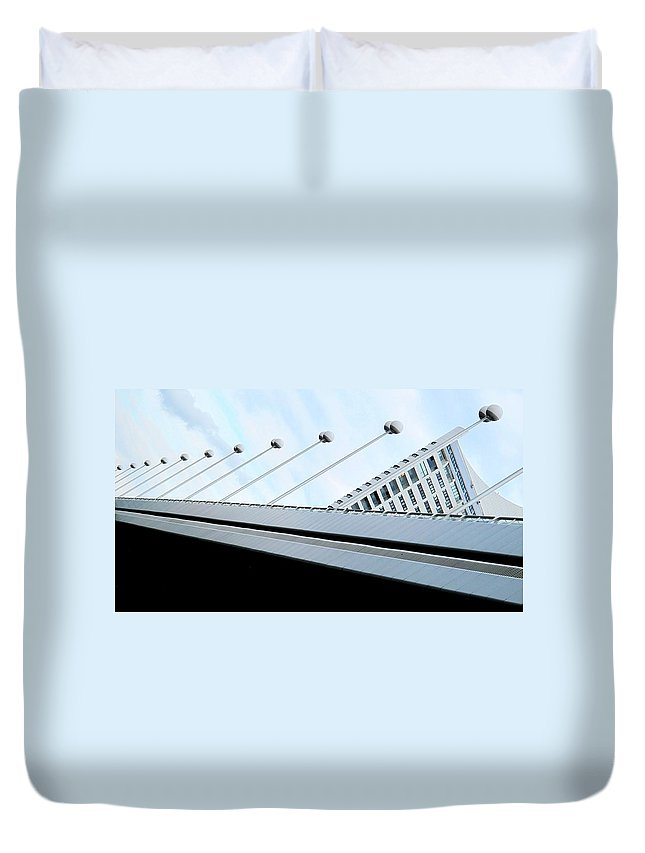 Vienna Duvet Cover featuring the photograph Bridge Over The Danube by Ian MacDonald