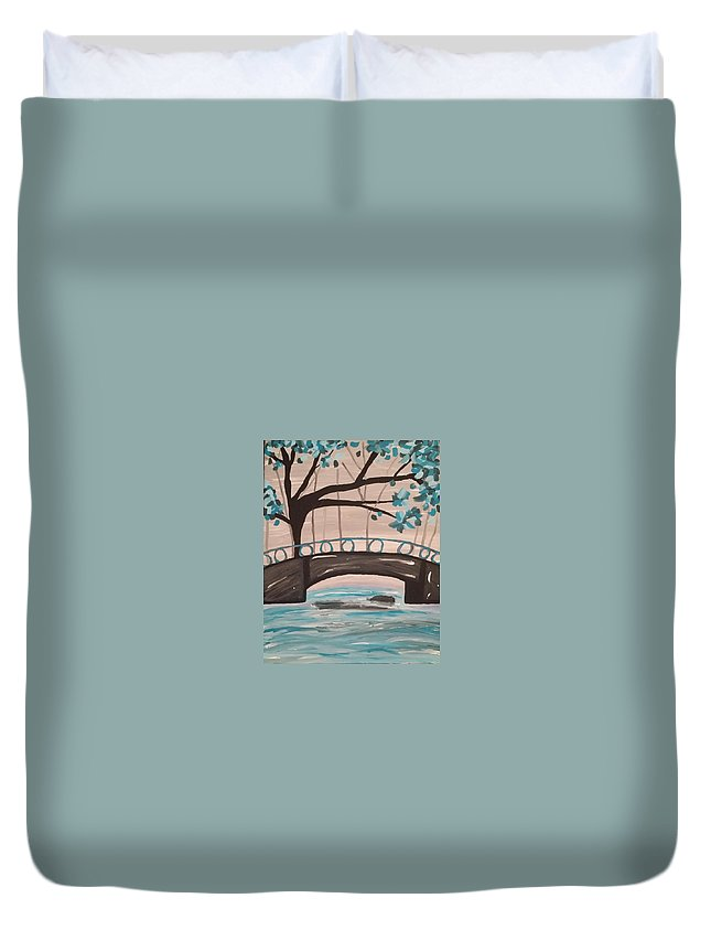 Duvet Cover featuring the painting Bridge Over Water by Shelby Heck